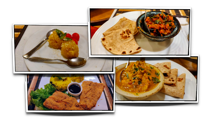 Dinner - Chappati and chicken (two dishes), Rawa fired fish with lemon rice and Pineapple kesari for dessert