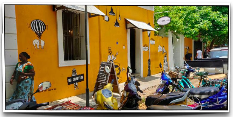 Cafe des Arts on Rue Suffren in Pondicherry