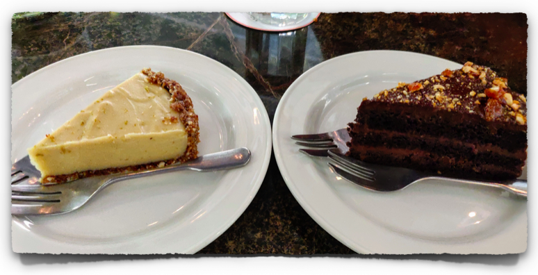 Vegan lemon cheese cake and chocolate cake at Coromandel Cafe