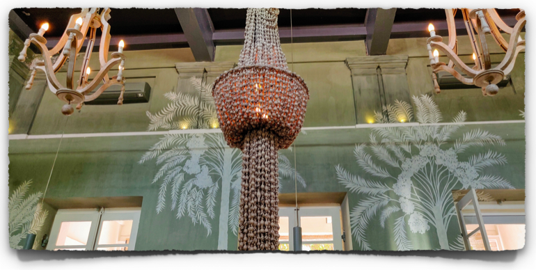 The shell chandelier inside the restaurant