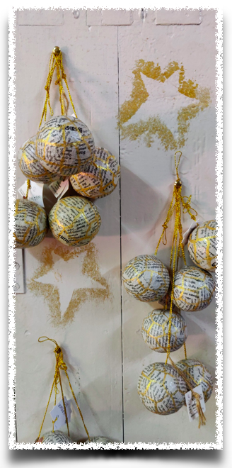 Christmas decorations from paper mache at Wallpaper, Auroville