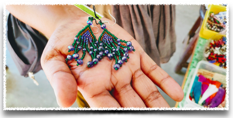 Earrings from beads at Wellpaper, Auroville