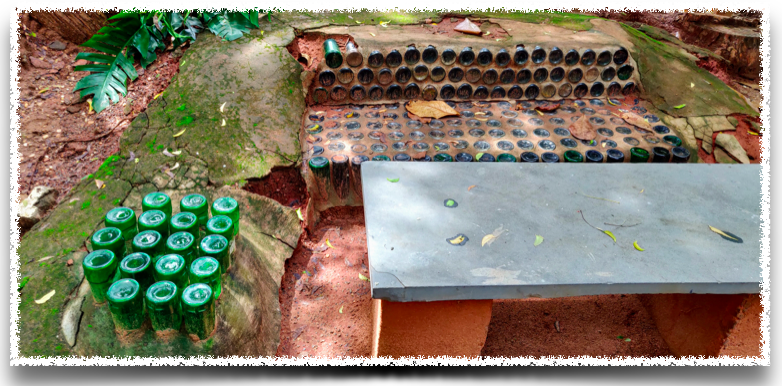 Benches made from glass bottles at Wellpaper, Auroville