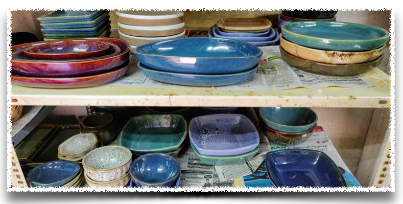 Few of the finished goods at the pottery unit in Auroville