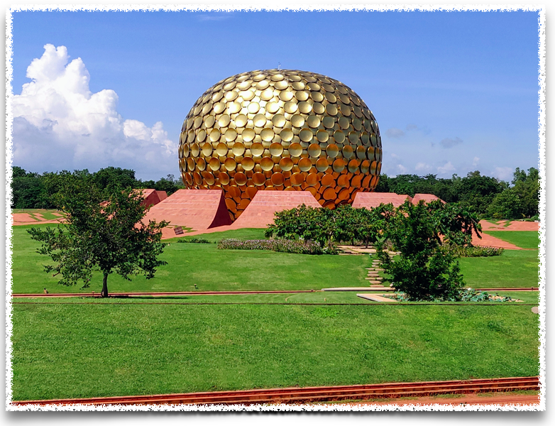 The Matri Mandir from the view point at Auroville