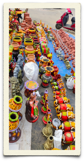 Earthen lamps and pots with the road side vendor during Diwali in Bangalore
