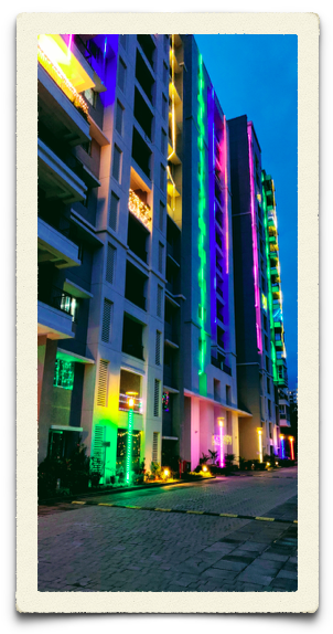 Our apartment building lighted for Diwali