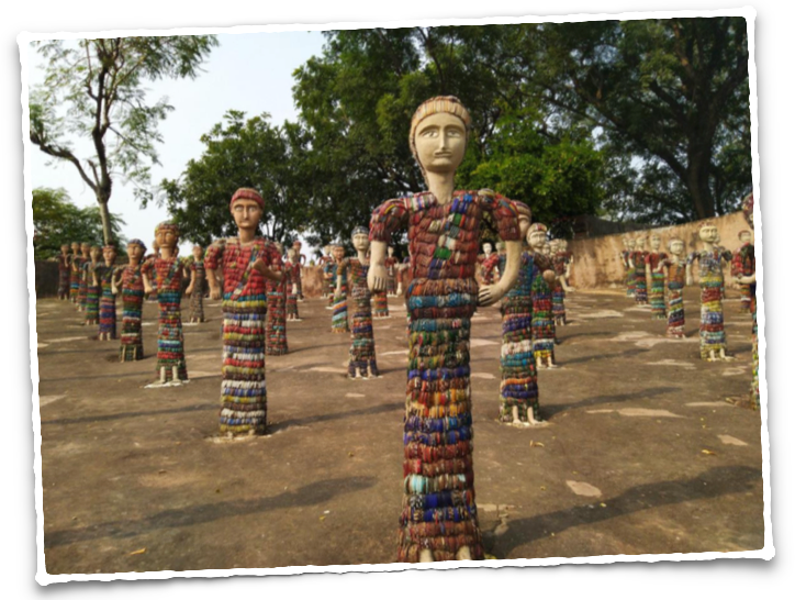 Village folk made from broken bangles and glass pieces at the Rock Garden