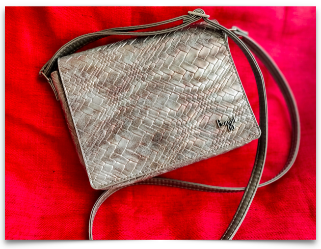 Metallic finish sling bag from Baggit