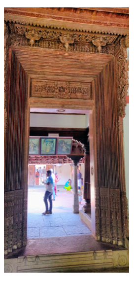 The ornate doorway of the Chettinad House of Tamil Nadu
