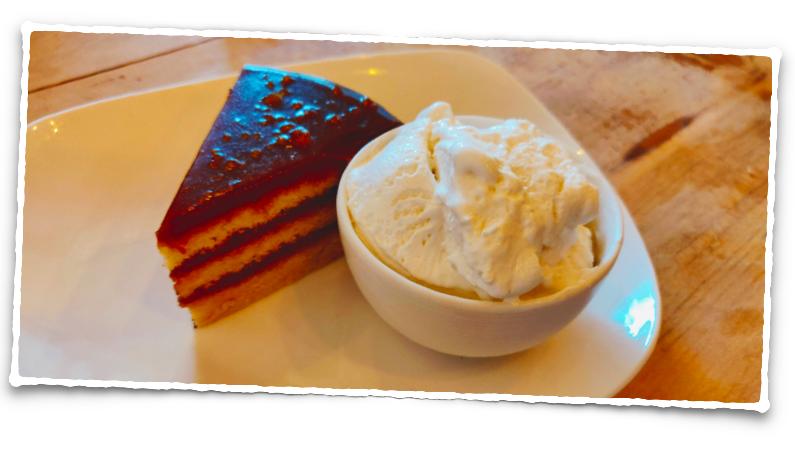 Caramel cake and vanilla ice cream