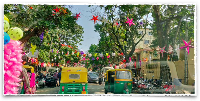 Star lit streets of Bangalore for Christmas