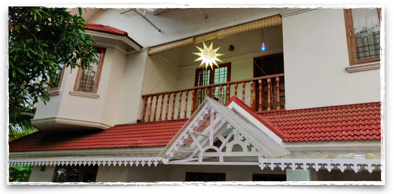 Waiting for the night to shine bright - star outside Kerala home