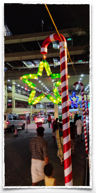 Star from pet bottles at a mall in Kochi