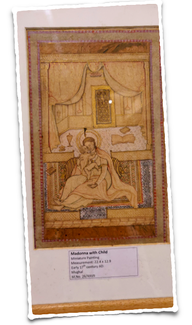 A Western theme of Madonna with Child at the Indian miniature painting gallery