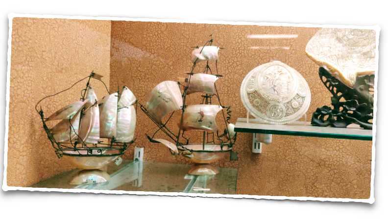 Mother of pearl sails - an exhibit at the Salar Jung museum in Hyderabad
