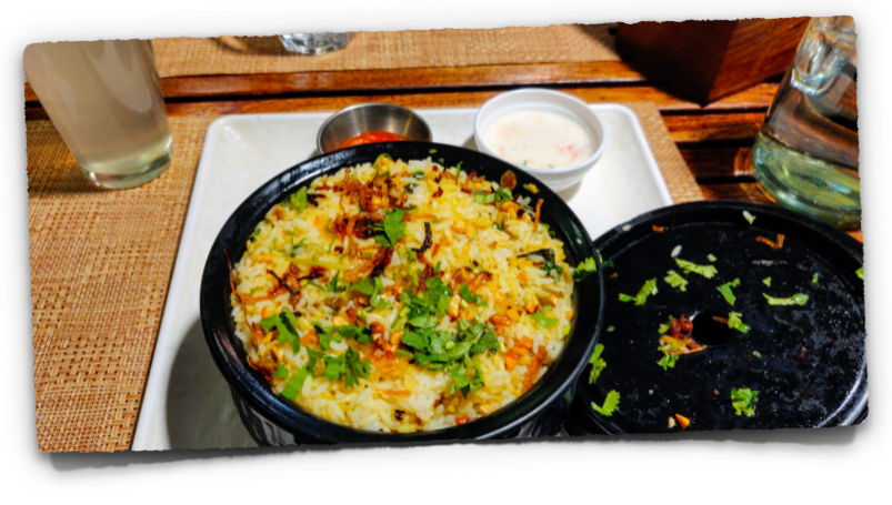 Malabar chicken biryani at the Curry Leaf restaurant at Kadavanthara