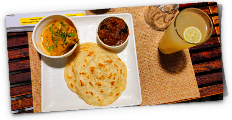 Kerala parotta with beef and chicken curry