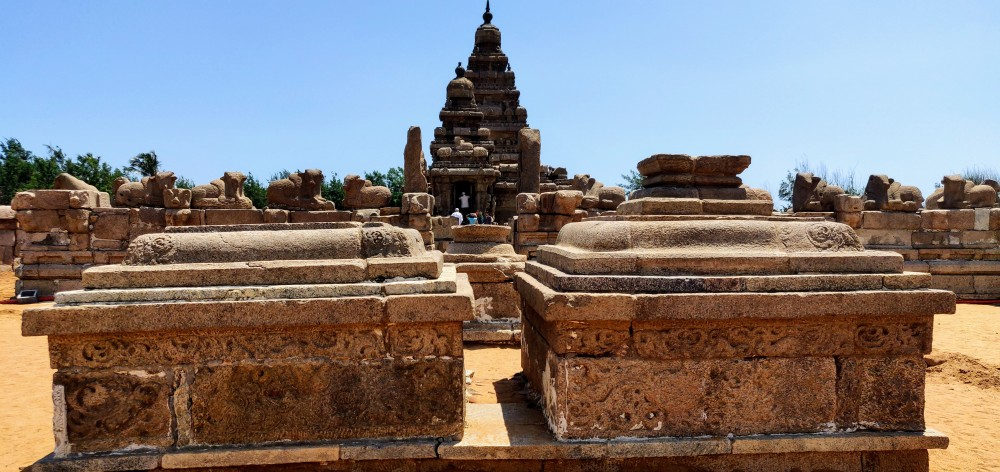 The two  pagoda style vimanas of the Shore Temple at Mahabalipuram