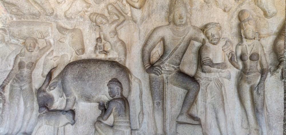 Balarama - Krishna's elder brother with his arm around a cowherd