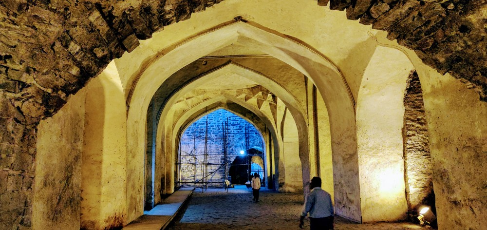 Under the magnificent arches inside the Golconda Fort, Hyderabad