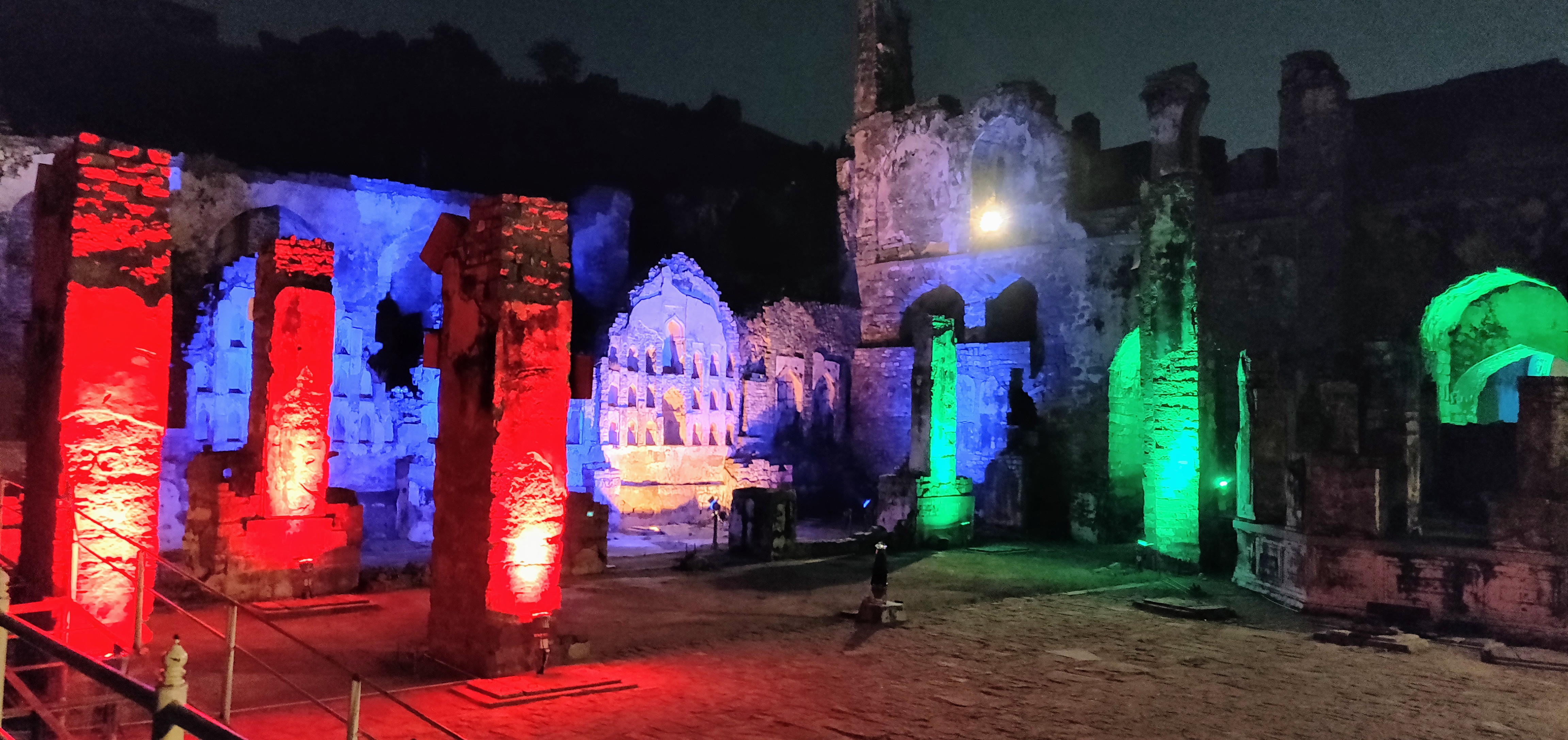 The Light and Sound show in progress at the Rani Mahal in the Golconda fort