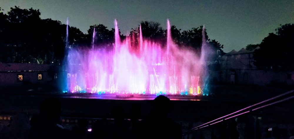Laser show and music fountain at the Lumbini Park, Hyderabad