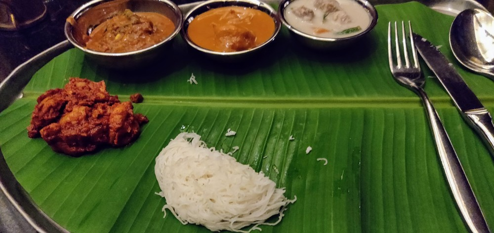 Dinner on a banana leaf at Karavalli, Bangalore