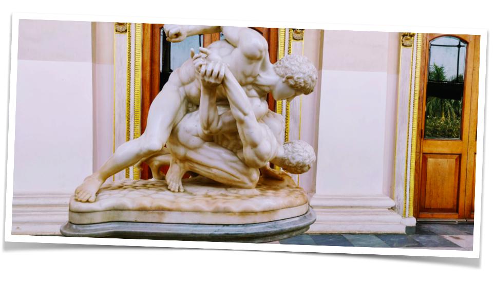 The marble statue at the Afzal Mahal at Chowmohalla Palace
