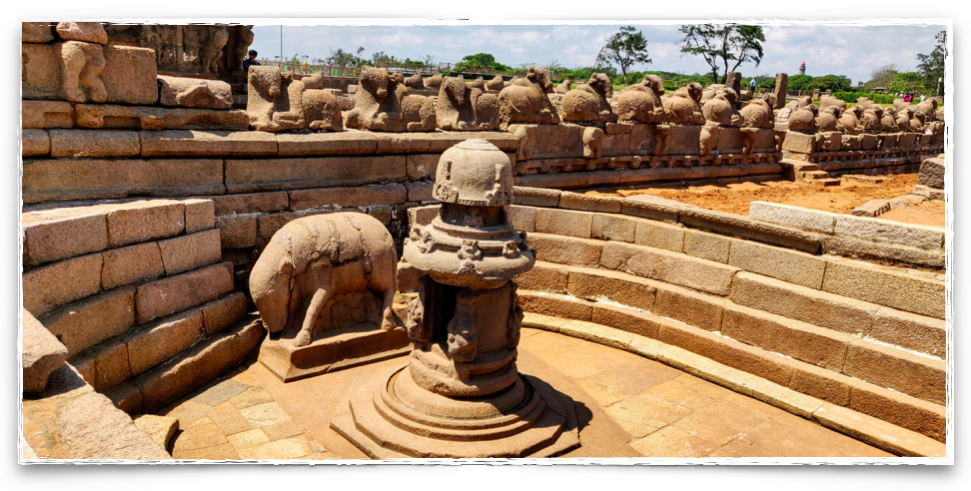 Sculpture of the boar below is symbolising the 3rd avatar of Vishnu at the Shore Temple