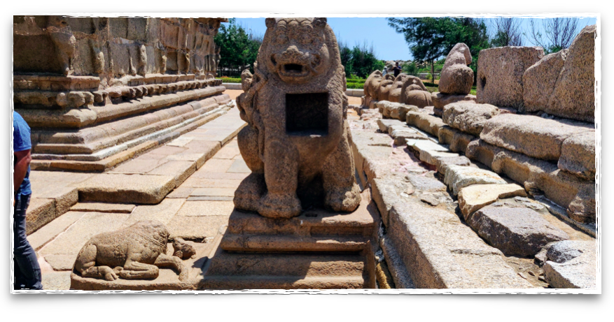 Lion, the mount of Goddess Durga at the Shore Temple.