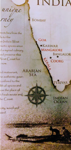 A leaf from the menu at the Karavalli restaurant