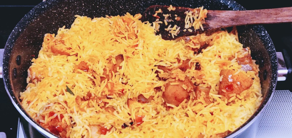 The fish biryani is a complete meal