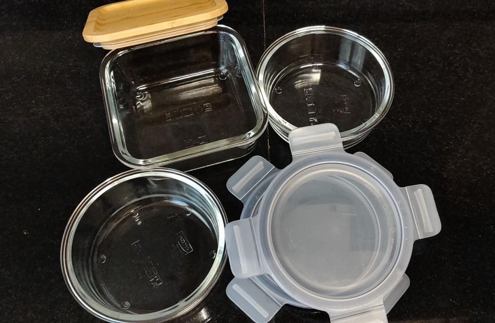 Glass storage containers with lids from Ikea, Hyderabad