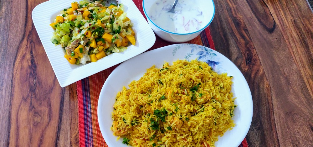 Merry meal - Prawns pulao, raita and mango-chicken salad