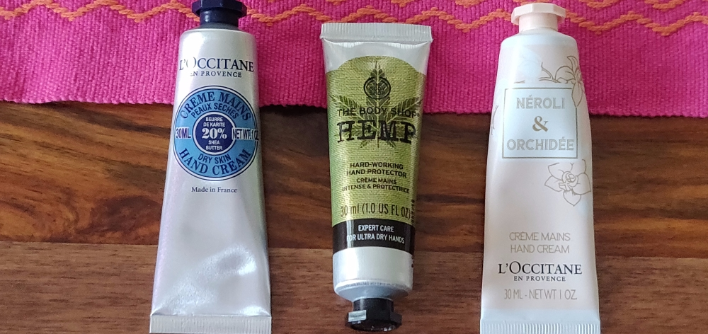 Hand creams from  L'Occitane and The Body Shop