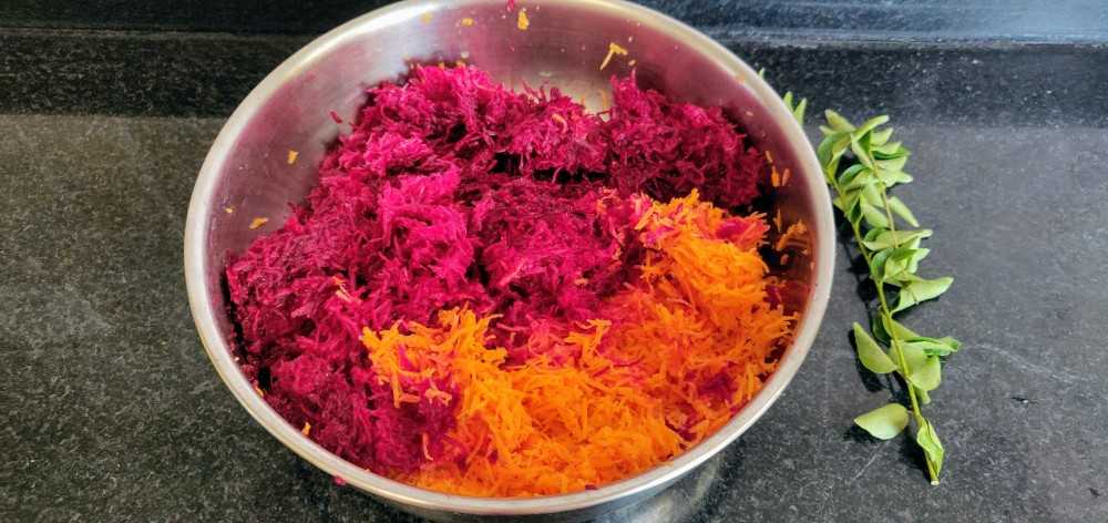 For the beetroot - carrot thoran - 2/3rd carrot and 1/3rd beet, grated