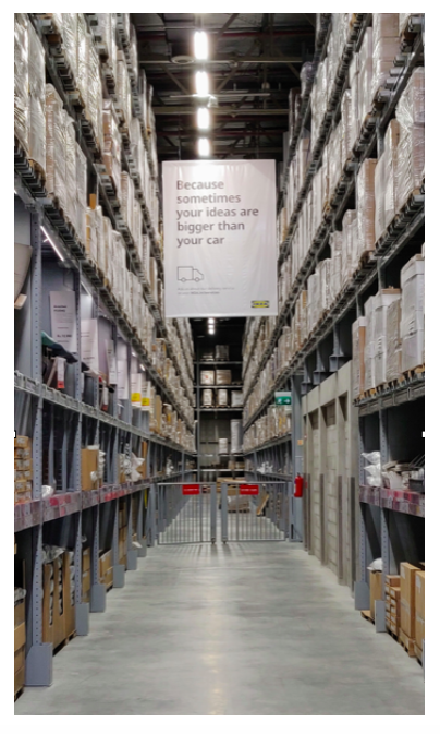 The towering aisles for storage at Ikea, Hyderabad