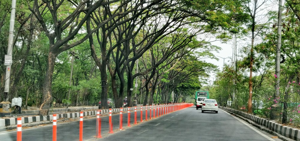 The orange dividers for the bus lane on the outer ring road in Bangalore