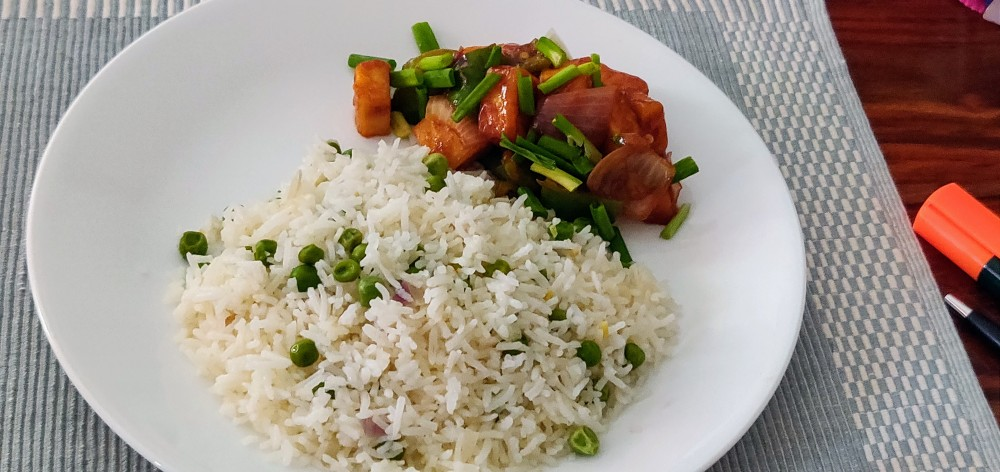 Peas pulao and chilli paneer