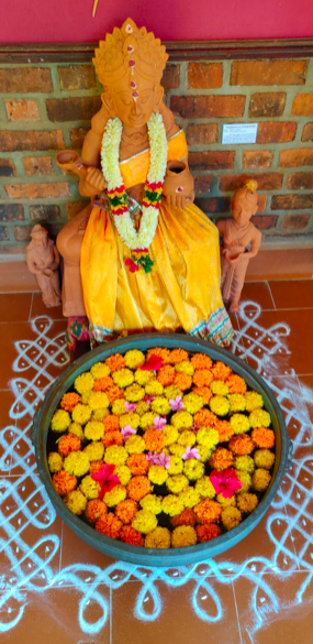 Fresh flowers for worship - seen at Dakshina Chitra