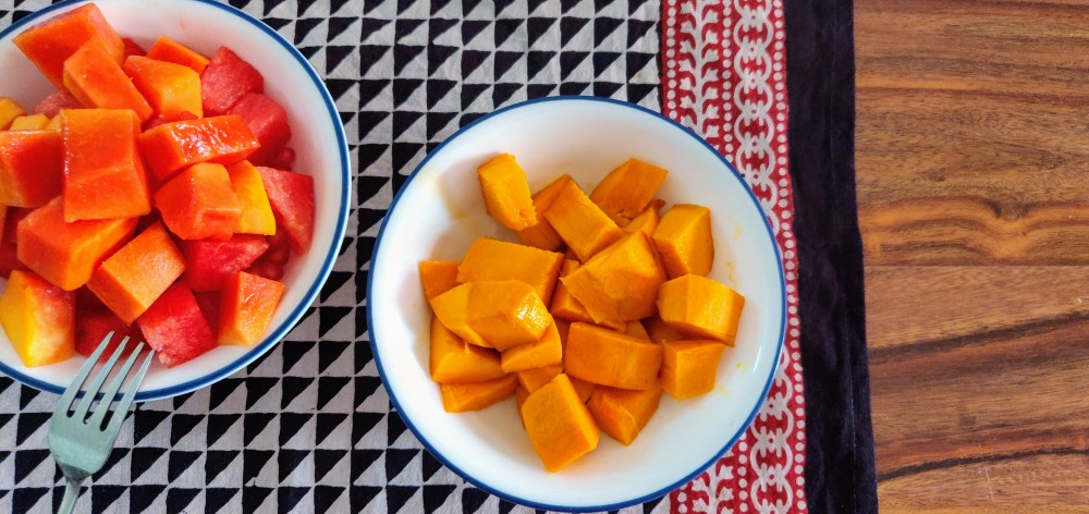Mangoes need to be served separately from the rest of the fruits for the kid