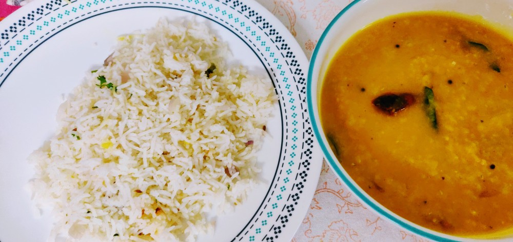 Rice and masoor dal tadka - a match made in heaven